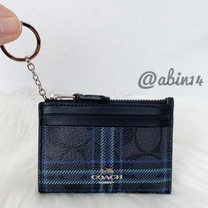 NWT Coach ID Card Case Key Ring Holder Plaid Print